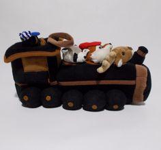 "Unipak Plush Train With 4 Mini Stuffed Animals 12"" Bear Conductor #Unipak"