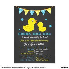 "Chalkboard Rubber Duck Baby Shower Invitations 5"" X 7"" Invitation Card"