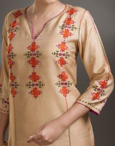 Beautiful combination of thread. Embroidery On Kurtis, Kurti Embroidery Design, Embroidery Suits, Embroidery Fashion, Hand Embroidery Designs, Phulkari Embroidery, Kurta Patterns, Dress Patterns, Kurta Designs