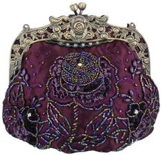 MG Collection Purple Antique Beaded Rose Evening Purse Clutch Handbag w/ Chain - Aesthetic Official