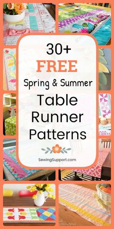 Table Runner Patterns for Summer. Free Spring & Summer Table Runner Patterns, tutorials, and diy sewing projects. Simple and easy runners to sew, plus ideas for quilted designs. Instructions for how to make table runners. Patchwork Table Runner, Table Runner And Placemats, Table Runner Pattern, Quilted Table Runners, Diy Sewing Projects, Sewing Projects For Beginners, Sewing Hacks, Sewing Tutorials, Sewing Tips