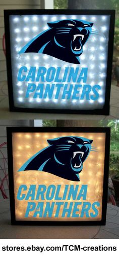 NFL National Football League Carolina Panthers shadow boxes with LED lighting & multiple colored vinyl decals