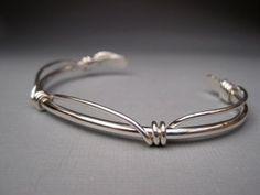 Sterling Silver Cuff with Knots by lesleytinnaro on Etsy, $62.00 #SterlingSilverCuff