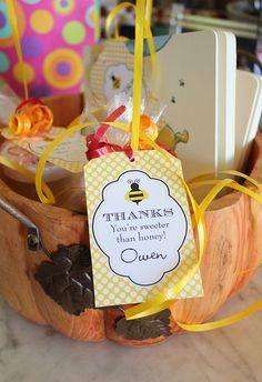 Bumblebee Birthday Party Favors - printables from Chickabug