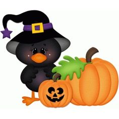 Silhouette Design Store - View Design #66948: halloween crow w pumpkins pnc
