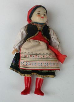 Here is a lovely vintage ethnic Russian souvenir/travel doll.  Made with a sewn cloth body, hard plastic half legs, arms and head.  Clothed in printed national style dress.  Size:  29cms. in length.  Would date this doll to around the 1950/60s. 18+4
