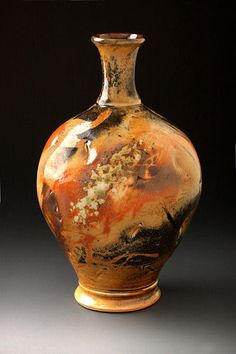 Shino bottle by Ed Kosik at the Pottery West Shino Workshop with Tom Coleman summer 2012