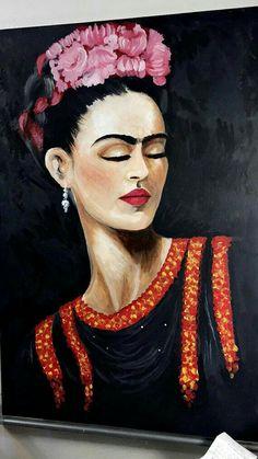 frida kahlo portrait made by mizael huerta Frida Kahlo Artwork, Frida Paintings, Frida Kahlo Portraits, Frida Art, Diego Rivera, Frida And Diego, Mexican Folk Art, Amazing Art, Pop Art