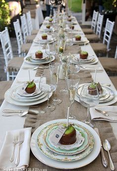 Personalized candy apple favor that becomes part of the table setting.  See more candy apple wedding favors and party ideas at www.one-stop-party-ideas.com