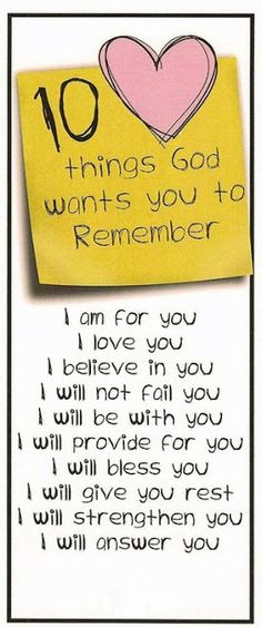 10 Things God Wants You to Remember....bulletin board?