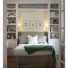 built-ins around guest bed...could easily adapt this to a Murphy bed style to save even more space