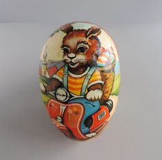 Vintage Paper Mache Vespa Scooter Bunny Rabbit and Baby Chicks Easter Egg, Western Germany (1960s) Candy Container, Spring Decor by thelogchateau on Etsy