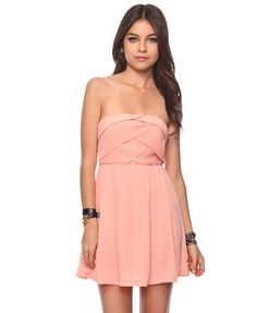 "$22.80 Forever 21 ""Cross Pleated Dress"" in peach.  Pretty color."