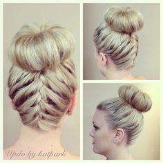 upside down braid with chignon Braided Bun Hairstyles, Dance Hairstyles, Bun Updo, Ponytail, Wedding Hairstyles, Competition Hair, Festival Hair, Stylish Hair, Love Hair