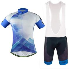 Men's Blue Short Sleeve Cycling Jersey Set #Cycling #CyclingGear #CyclingJersey #CyclingJerseySet