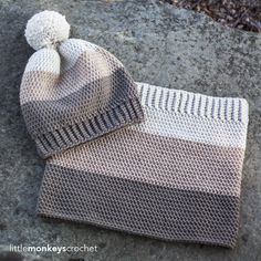 Minus the pompon - Carlyle Slouch Hat & Cowl Crochet Pattern Set Col Crochet, Crochet Cowl Free Pattern, Crochet Beanie, Crochet Baby, Free Crochet, Knitted Hats, Knitting Patterns, Crochet Patterns, Easy Crochet Hat