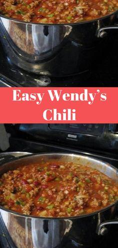 Easy Wendy's Chili Easy Wendy's Chili Wendy's Chili Recipe Easy, Chili Recipe Crockpot Best, Chilli Recipes, Gourmet Recipes, Crockpot Recipes, Soup Recipes, Cooking Recipes, Healthy Recipes, Wendys Copycat Chili Recipe