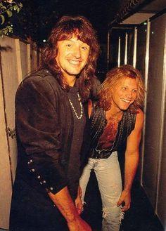 Jon Bon Jovi and Richie Sambora acting mischievously circa 1995