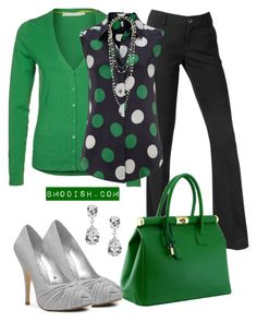 """""""Work outfit"""" by wulanizer ❤ liked on Polyvore featuring Krystal, Passport, Armani Jeans, Structured Green, Lulu Townsend and polka dot blouses"""
