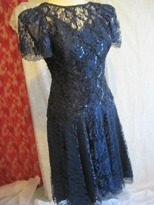 Vintage 1980s Blue Lace & Sequins Dress HW Collection 4 | eBay - StyleSays