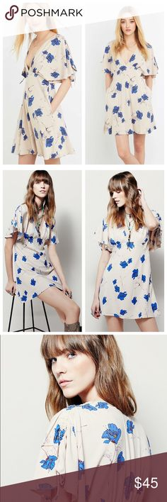 Free People Melanie Floral Print Dress Free People Melanie Floral Print Fit & Flare Dress, New without Tags. Floral print pattern on a light weight fit & flare dress styled with fluttery elbow-length sleeves. Hidden side zipper. Plunging neckline, flattering fit. Multiple sizes available. Free People Dresses Mini