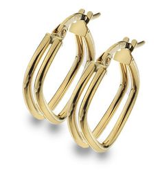 9ct Gold Double Square Hoop Creole Earrings (003049)