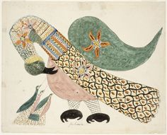 Mary Ann Willson American, active 1818-1829 Pelican with Young, ca. 1800–1830 Ink and watercolor with stenciling on paper; 32.7 x 40.8 cm (12 7/8 x 16 1/16 inches)