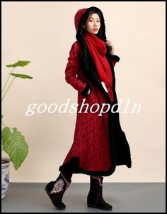 Womens Winter Thick Fleece Coat Long Hooded Casual Warm Jacekt Outerwear Robe M2