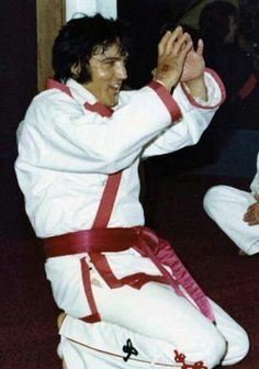 "Elvis during the filming of his karate documentary ""The New Gladiators"" project in September 1974."