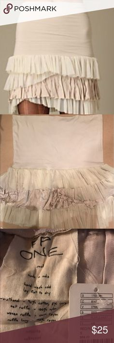 Free People One Layered Ruffle Skirt- NWT Adorable FP ONE skirt size small waistband 92%cotton 8% Lycra. Cute and comfy skirt, NWT and no longer available online. Never worn, just needs ironing. Free People Skirts