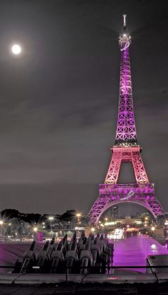 Pink and Purple Tour Eiffel for the Breast Cancer Foundation Day