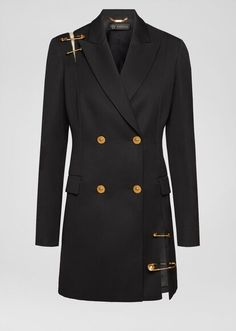 Safety Pin Wool Coat from Versace Women's Collection. This double-breasted coat was crafted from pure wool and boasts gold-tone Medusa buttons. The elegant coat features shoulder and hemline cut-outs enriched with heritage Safety Pin hardware. Versace Suits, Versace Coat, Versace Brand, Versace Jacket, Kpop Fashion Outfits, Suit Fashion, Mode Costume, Black Wool Coat, Black Suits