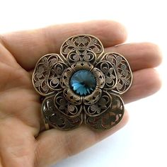 Large Filigree Antique Copper Flower With Montana by CinLynnBeads