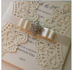 Lace invitation~Explore more DIY wedding ideas, how to choose a wedding dress and the best honeymoon destinations on www.mrspurplerose.com #WeddingDecorations #WeddingThemes #WeddingIdeas
