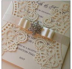 Lace invitation~Explore more DIY wedding ideas, how to choose a wedding dress and the best honeymoon destinations on www.mrspurplerose.com #WeddingDecorations #WeddingThemes #WeddingIdeas