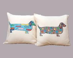 Dachshund throw pillow, set of two decorative pillows for kids, colorful dachshund pillows by guldentaki