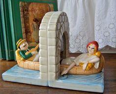 Vintage Quon Quon Ceramic Gondola Bookends by cynthiasattic, $29.00