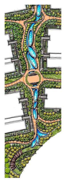 Landscape Architecture Drawing, Landscape Elements, Landscape Design Plans, Landscape Concept, Landscape Drawings, Cool Landscapes, Architecture Plan, Urban Landscape, Parque Linear