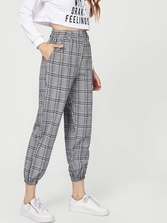 Elastic Waist Plaid Pants Check out this Elastic Waist Plaid Pants on SHEIN  and explore more to meet your fashion needs! b366f5a1c696