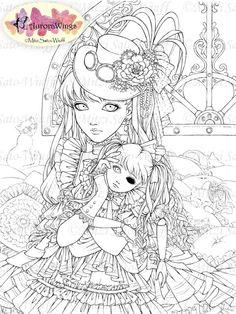 Ausmalbild Manga Mädchen Mit Schmetterling Kostenlos Zum