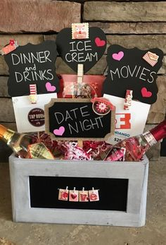 Date Night basket for our hockey association fundraiser! Date Night basket for our hockey association fundraiser! Gift Card Basket, Date Night Gifts, Valentine Gift Baskets, Gift Baskets For Him, Valentine's Day Gift Baskets, Themed Gift Baskets, Cute Valentines Day Gifts, Valentines Gifts For Boyfriend, My Funny Valentine
