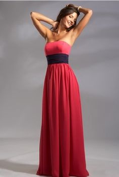 Floor Length Zipper Up A-line Strapless Sleeveless Red Chiffon Bridesmaid Dress With Black Sash BD78821/Wedding Party