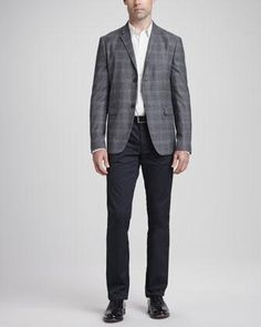 Theory Wool/Cashmere Plaid Sport Coat, Seamed-Front Woven Dress Shirt & Basic 5-Pocket Stretch-Twill Pants - Neiman Marcus