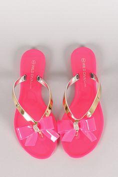 57899f4f4afed 18.40-  Wild Diva Lounge Joanie-05 Jelly Bow Thong Flat Sandal Flip Flop