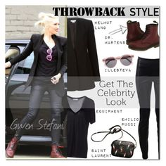"""Celebrity Look: Gwen Stefani"" by junglover ❤ liked on Polyvore featuring Helmut Lang, Equipment, Emilio Pucci and Illesteva"