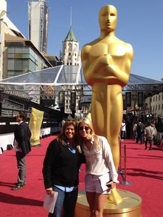 Our producers Jan and Lori with the huge Oscar® on the red carpet!