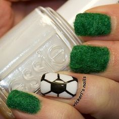 The greens… | 38 Awesome Nail Art Designs Inspired By The World Cup  Just the Futbol/soccer ball