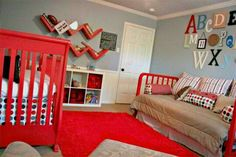 I love the red baby bed!