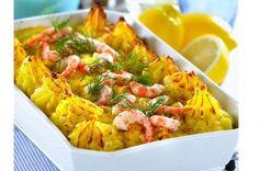 Fiskgratäng med räkor och curry