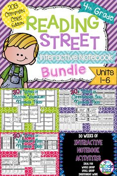 Interactive Notebooks to complement Grade Reading Street. Includes weekly page for Comprehension Skill, Vocabulary Strategy, and Selection Vocabulary Spelling Activities, Reading Activities, Literacy Activities, Teaching Reading, Reading Art, Reading Groups, Reading Street 4th Grade, Tales Of A 4th Grade Nothing, Vocabulary Strategies
